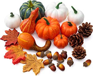 Mocoosy Artificial Pumpkins and Gourds, Assorted Pumpkins for Decorating Fall Thanksgiving Autumn Decor, Mixed Fake Pumpkin Set Include Harvest Pumpkins Gourds, Maple Leaves, Pine Cones and Acorns