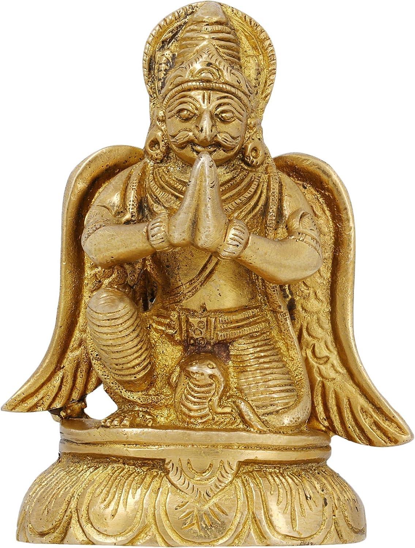 Holy Birds Figurines Mount of The Lord Vishnu Garuda Statues Brass Metal Art Home Décor 3.75 Inches