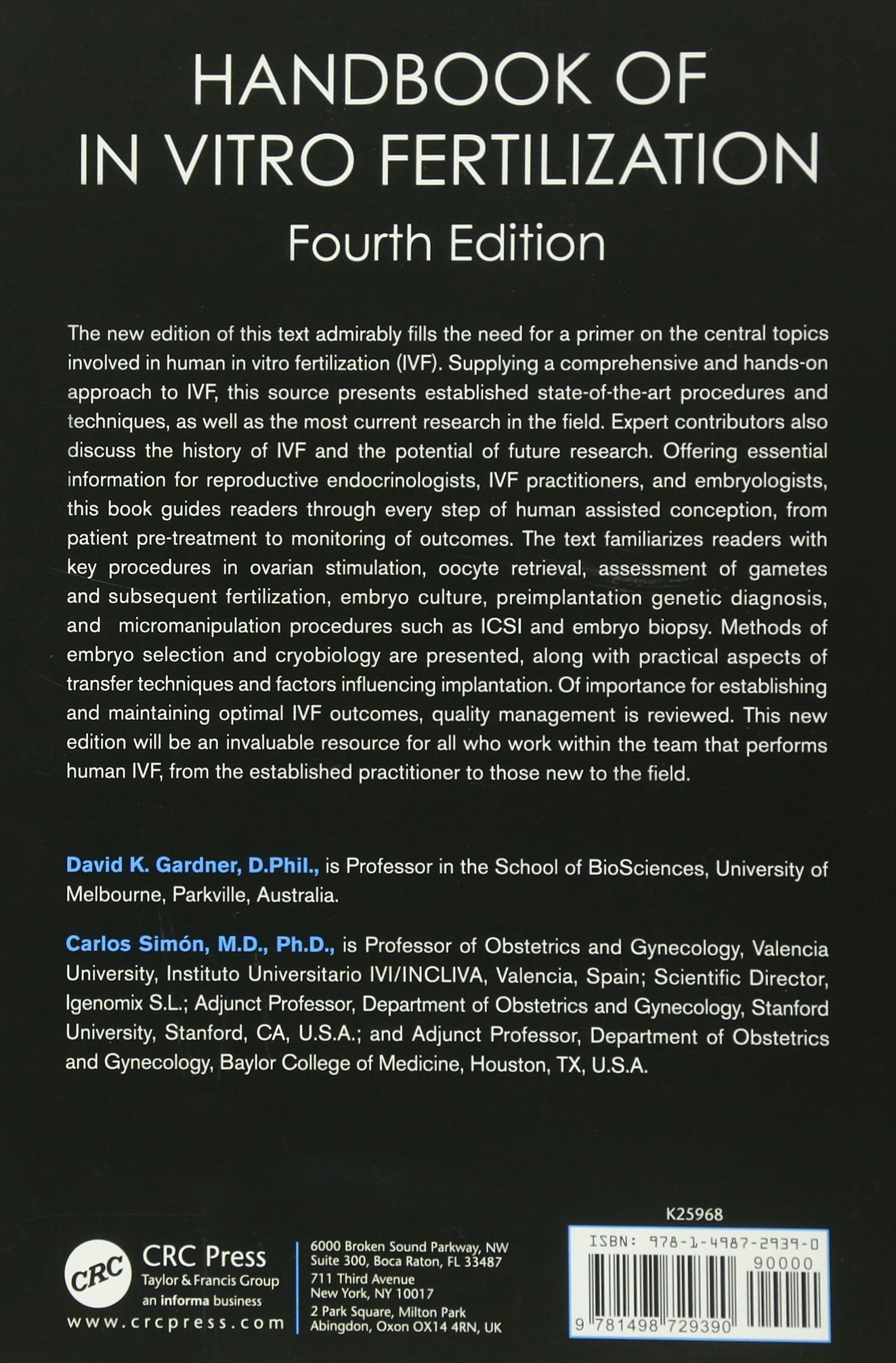 Handbook of In Vitro Fertilization: David K  Gardner, Carlos
