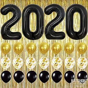 Black and Gold Graduation Party Supplies 2020 - Gold Foil Fringe Curtain Backdrop | Large Black 2020 Balloons | 7 Gold Confetti Balloons | 7 Black and Gold Latex Balloons | Graduation Decorations