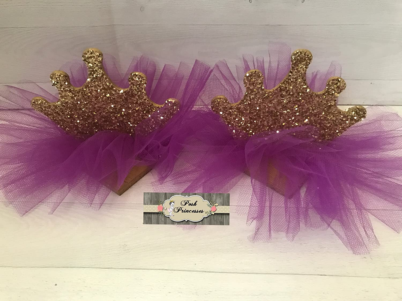 Princess Birthday Sparkle Crown TuTu Cake Topper - Purple & Gold Centerpiece - Birthday Girl Photo Prop