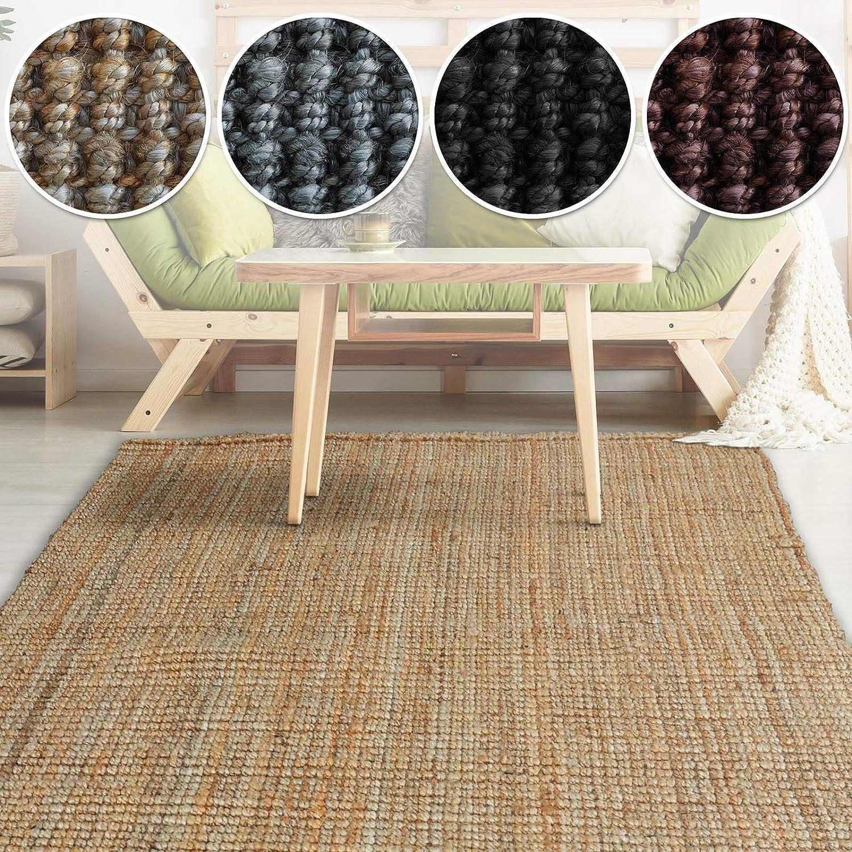 Casa pura Jute Teppich Webteppich aus Naturfaser   Moderner Juteteppich   Natürliche Sisal Optik für Wohnzimmer, Esszimmer und Flur   Große Auswahl   Natur - 140x200 cm