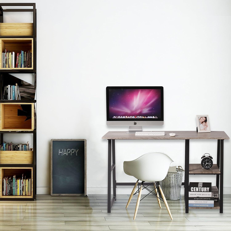 WOLTU® Schreibtisch TSG25gr Computertisch Bürotisch Arbeitstisch PC Laptop  Tisch, Mit 2 Ablagen, ...