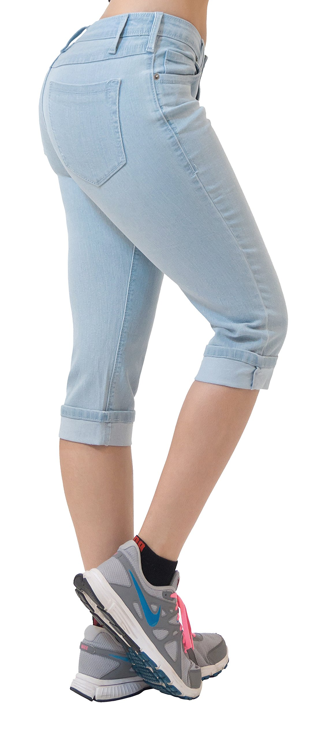 HyBrid & Company Women's Perfectly Shaping Stretchy Denim Capri-Q22883X-LightWash-18 by HyBrid & Company (Image #1)