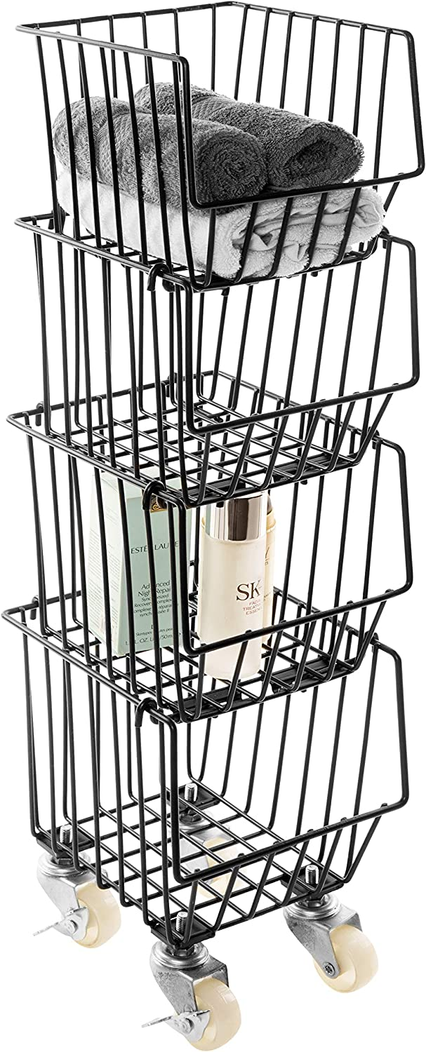 MyGift Stackable Rolling Black Metal Wire Storage Rack/Kitchen Pantry Bins with Wheels, Set of 4