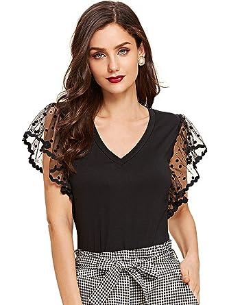 261e27bcec SheIn Women's V Neck Mesh Contrast Sleeve Slim Fit Tee Top Black X-Small