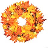 """ALLADINBOX 17"""" Thanksgiving Wreath with LED Lights Pumpkin Berries Maple Leaves, Harvest Day Themed Hanging Silk Fall…"""
