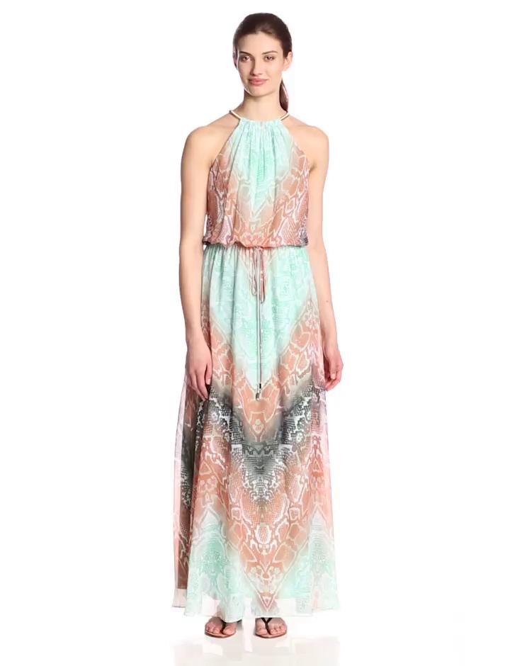 Vince Camuto Women's Halter Blouson Printed Chiffon Maxi Dress, Multi, 2