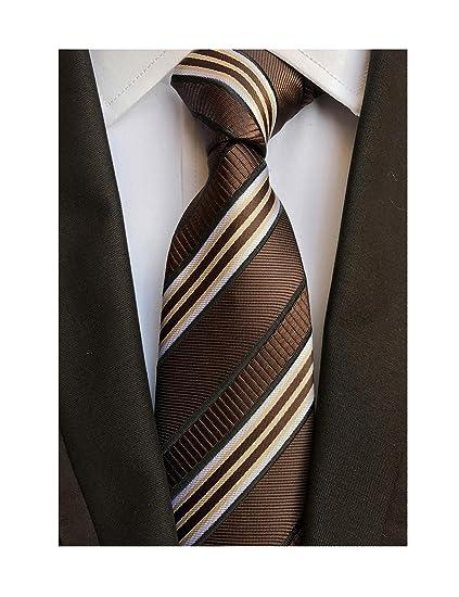 65615461479a Men's Coffee Brown White Tie Silk Luxury Unique Designer Cool Self Dress  Necktie