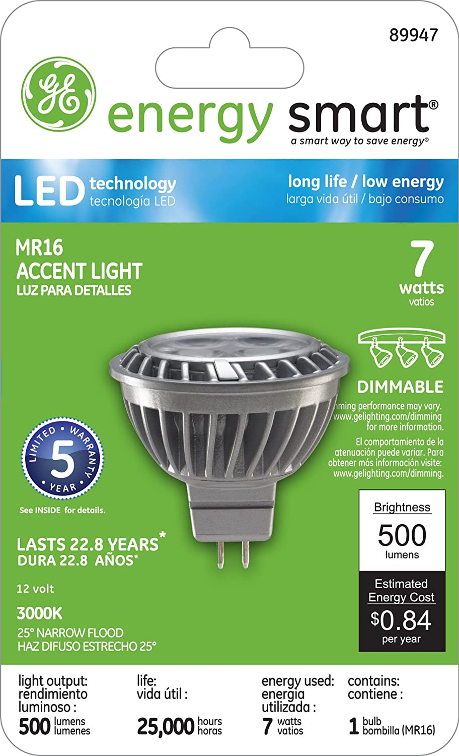 GE Lighting 89947 LED 7-watt 500-Lumen Dimmable MR16 Floodlight Bulb with GX5.3 Base, Bright White, 1-Pack - - Amazon.com