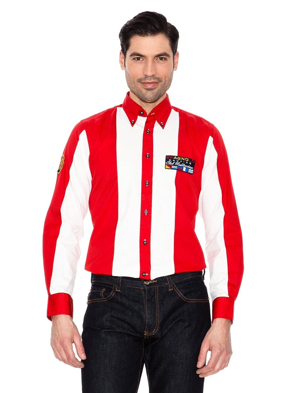 Spagnolo Camisa Gabardina Náutica M.028 Rojo + Blanco 01: Amazon.es: Ropa y accesorios