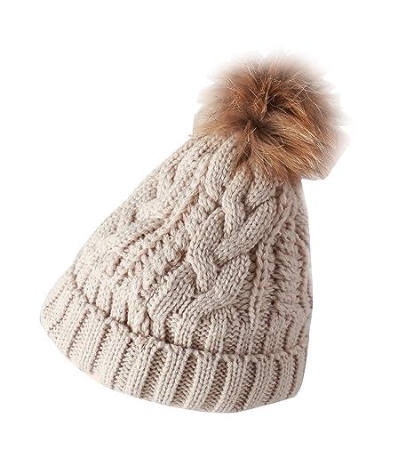 d4f65d76bc6 Daisiny Women s Extreme Warm Thick Crochet Knit Slouchy Pom Pom Beanie  Winter Ski Hat (beige