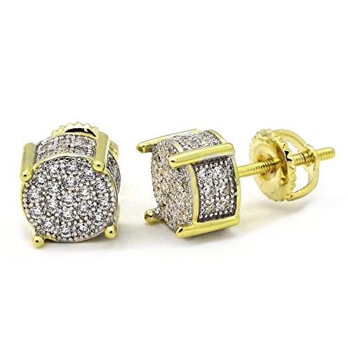 b74bcc97e Image Unavailable. Image not available for. Color: Mens Gold TwoTone ICED  OUT Cz Micropave Earring Stud Round Hip Hop