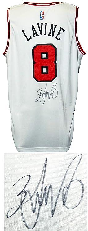 5cc0fc21c Zach LaVine Signed Chicago Bulls White Fanatics Replica Basketball Jersey  at Amazon s Sports Collectibles Store