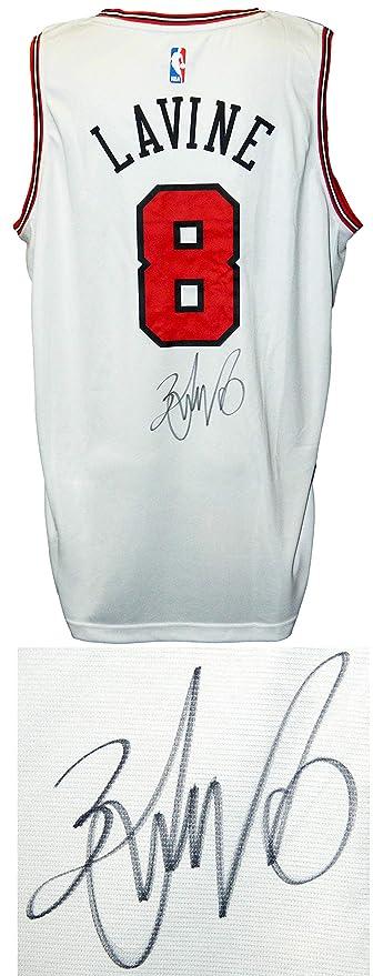 best website 07fb1 c55e3 Zach LaVine Signed Chicago Bulls White Fanatics Replica ...