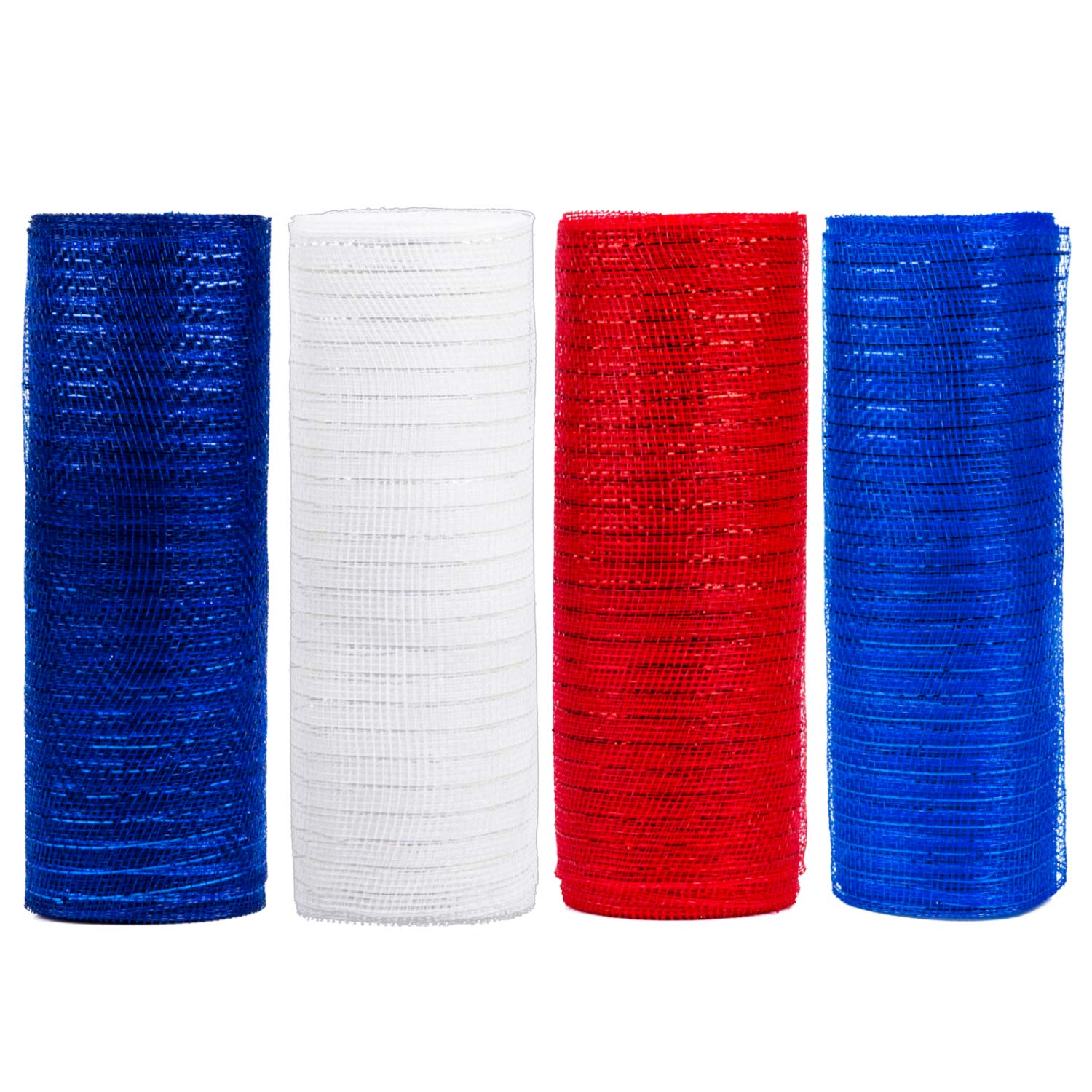 LaRibbons Deco Poly Mesh Ribbon - 10 inch x 30 feet Each Roll - Metallic Foil Red/Royal/White/Navy Set for Wreaths, Swags and Decorating - 4 Pack by LaRibbons (Image #2)