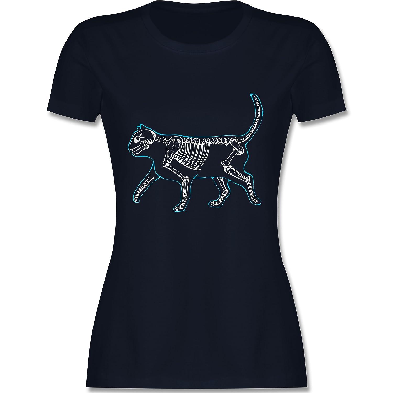 Katzen - Spooky Cat - Damen T-Shirt Rundhals: Shirtracer: Amazon.de:  Bekleidung