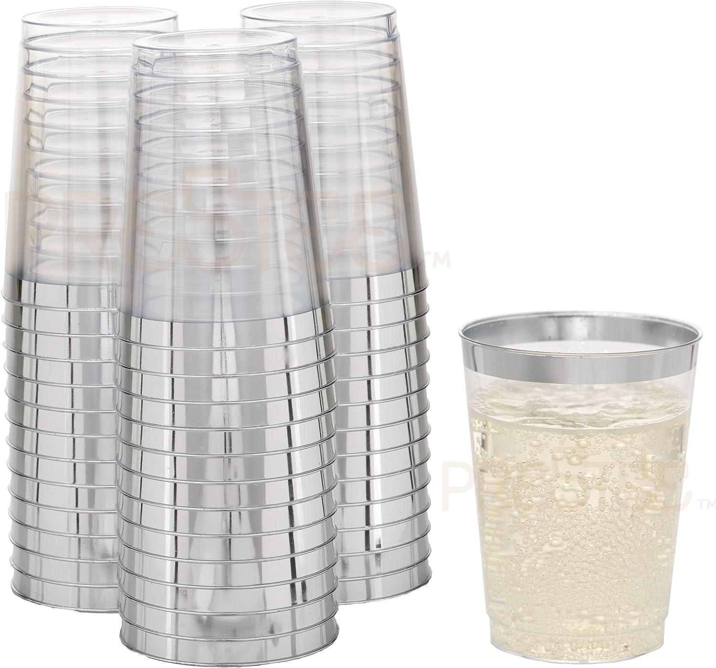 DRINKET SILVER PLASTIC Cups 16 Oz Clear Cups//Tumblers Fancy Wedding W Rim 50 Ct