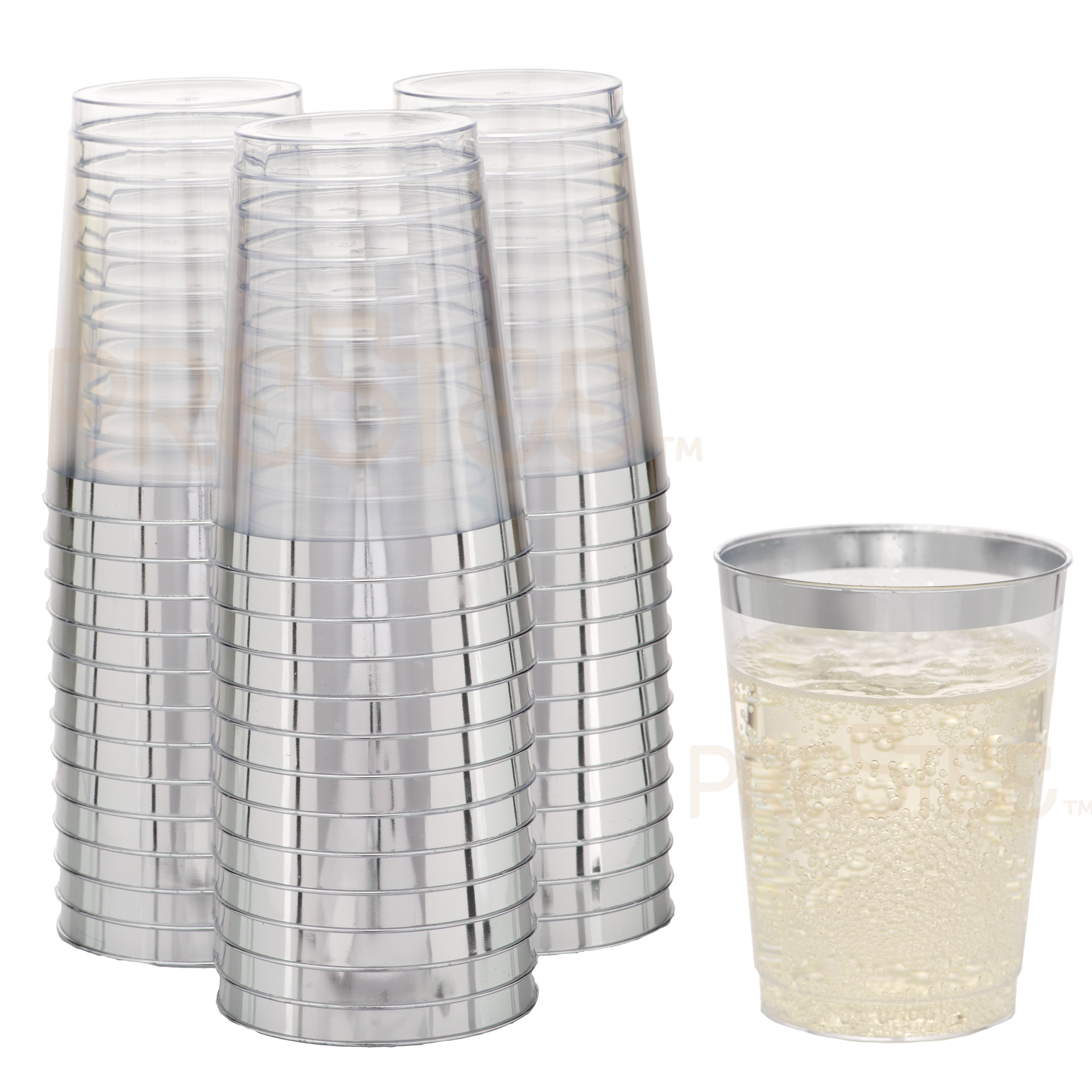 DRINKET Silver Plastic Cups 10 oz Clear Plastic Cups / Tumblers Fancy Plastic Wedding Cups With Silver Rim 50 Ct Disposable For Party Holiday and Occasions SUPER VALUE PACK by Prestee