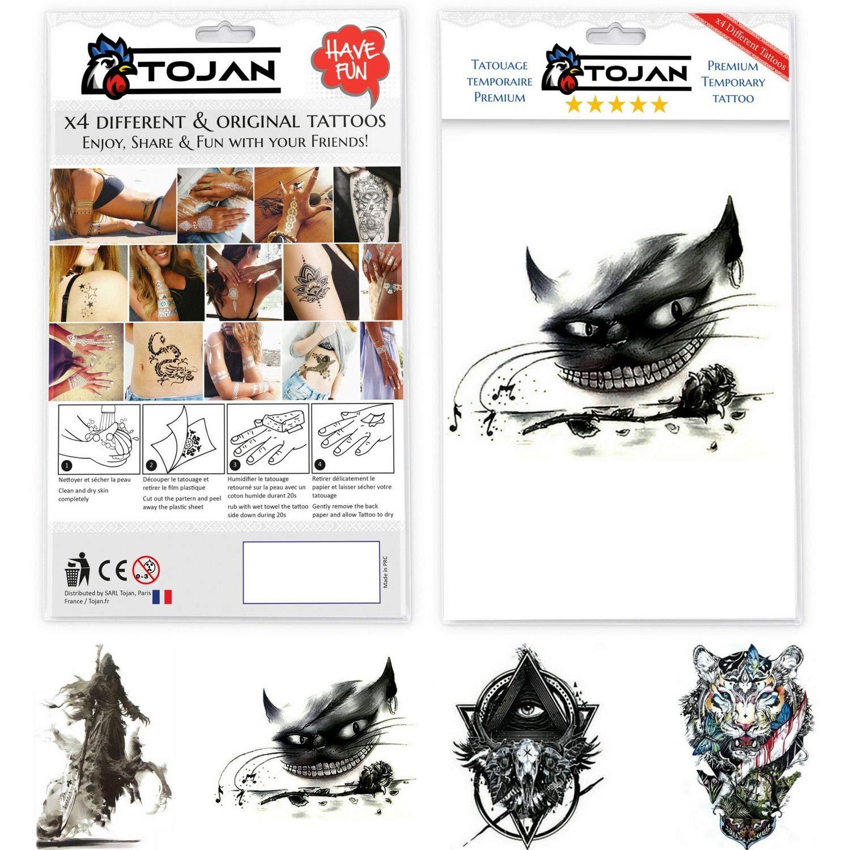 Tatuaje Temporal Blanco y Negro Tojan Oscuro / 4 Diferentes ...