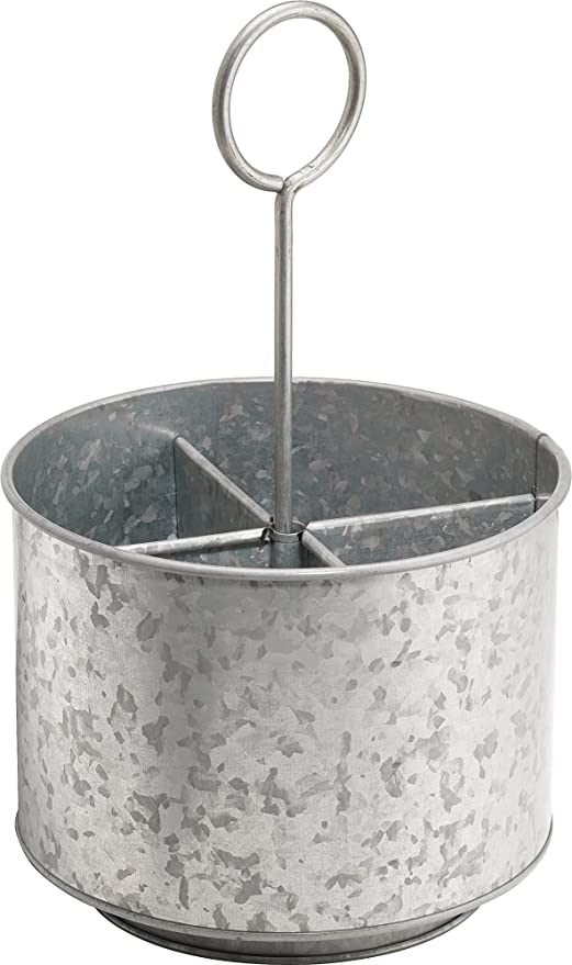 exceptional Spinning Utensil Caddy Part - 11: KOVOT Galvanized Rotating Utensil Caddy u0026 Organizer | Rustic u0026 Country  Style Decor | Measures 7.5u0026quot