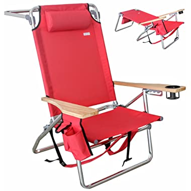 VALLF Premium Deluxe & High-End Beach Chair Lightweight Aluminum Lay-Flat Pillow Backpack Oversized with Phone Pouch and Drink Holder (Assorted Colors)