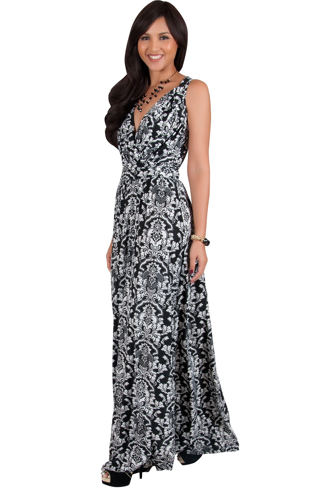 ecd2d17ac5e KOH KOH Plus Size Womens Long Sleeveless Stretchy Flowy Cute Spring Summer  Sundress Sun Vintage Casual Floral Print Work Party Jersey Sexy Gown Gowns  Maxi ...