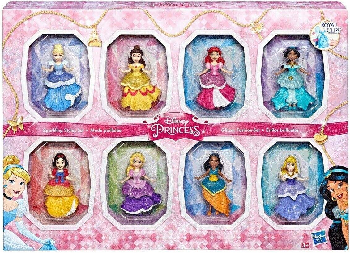 Disney COS1312433 Princesa pequeña 8 muñecas colección Sparkling Estilos Set con Clip-on Vestidos