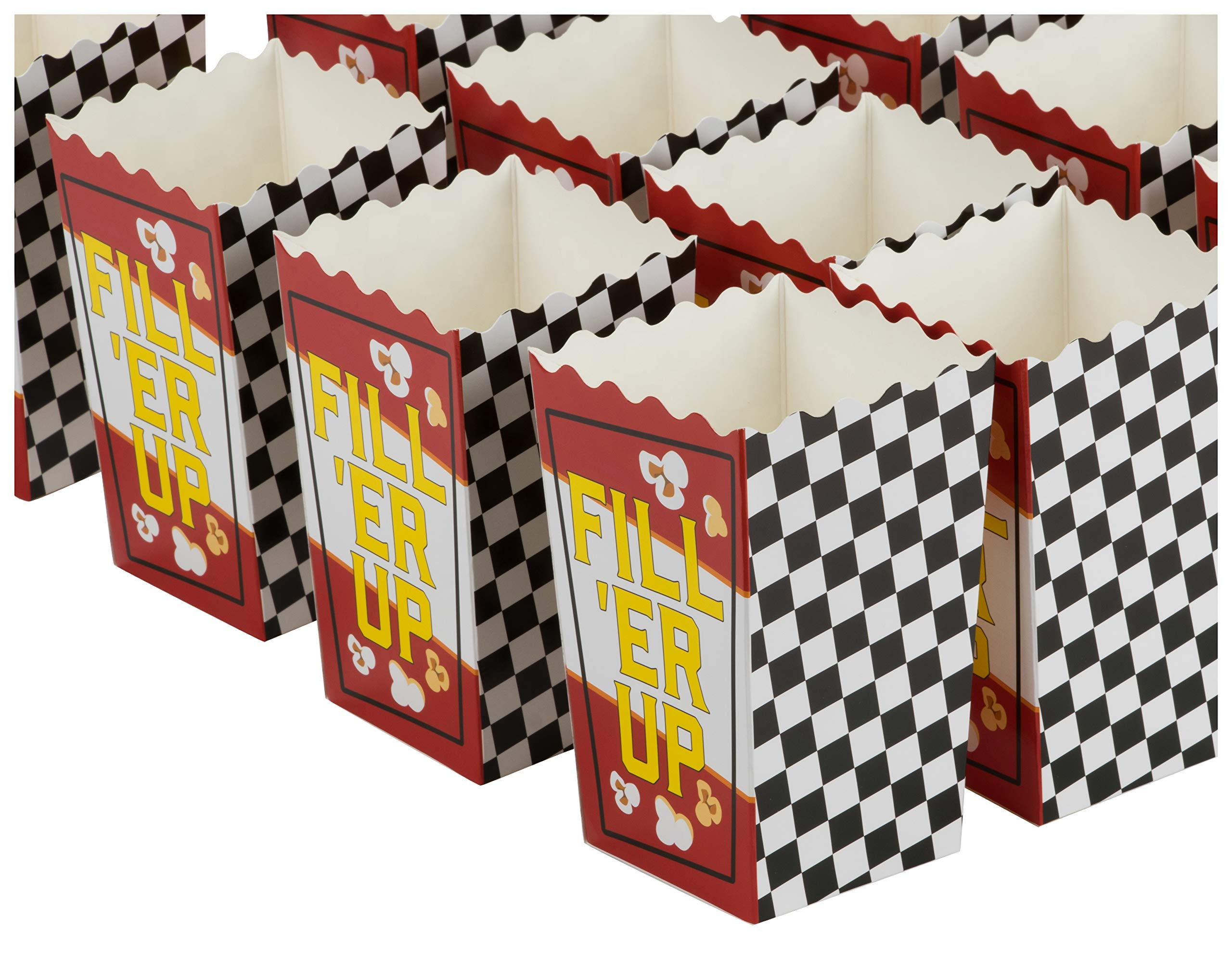 Blue Panda 50-Pack 5.5 Inch Tall Mini Racing Theme Paper Popcorn Party Boxes for Treats, Candy by Blue Panda
