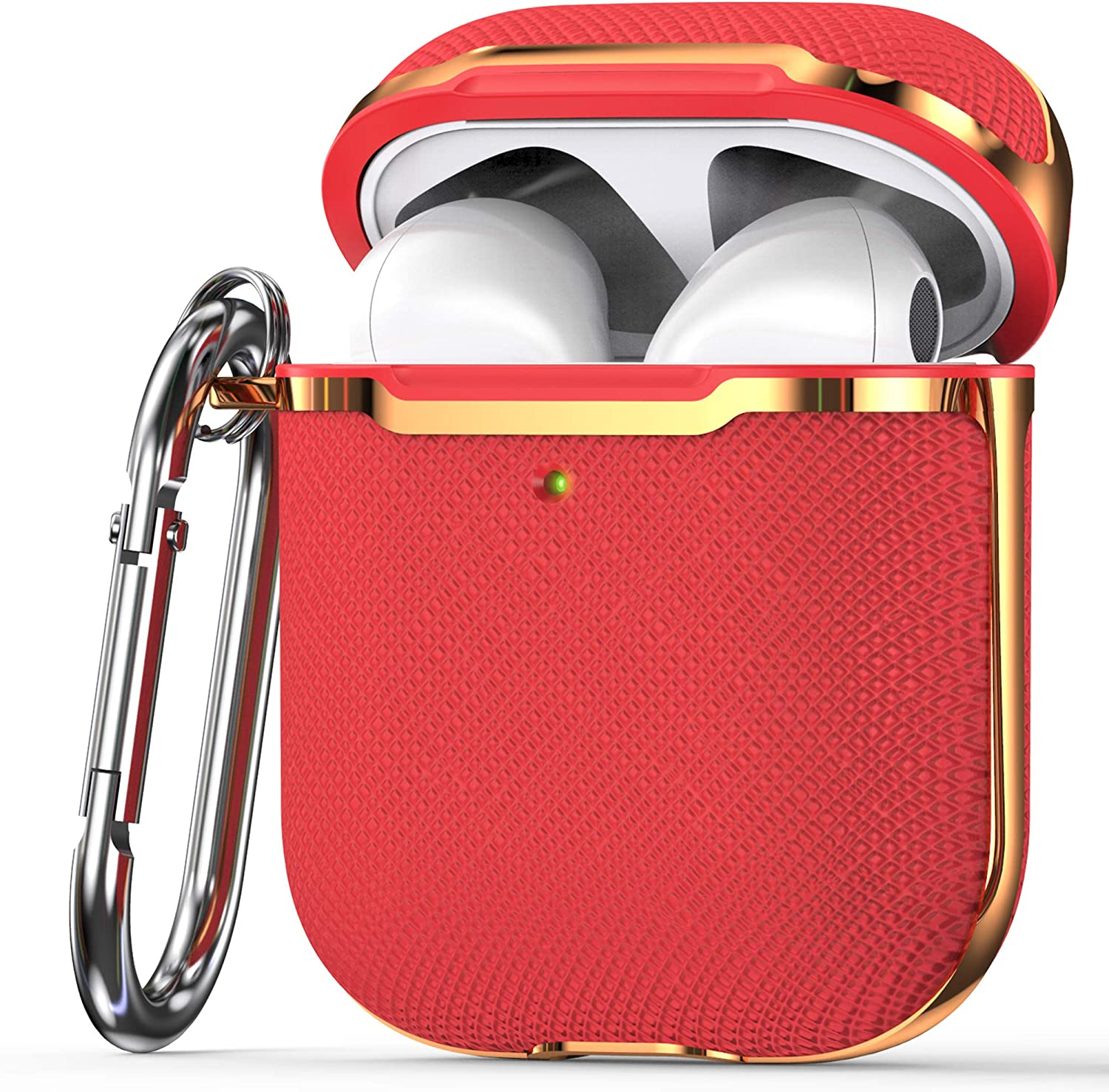 KIQ Premium Protection Case Cover Anti-Scratch Full-Body Slim and Lightweight for Airpod Charging Case Compatible with Apple Airpod 1st & 2nd Generation (Red/Gold)