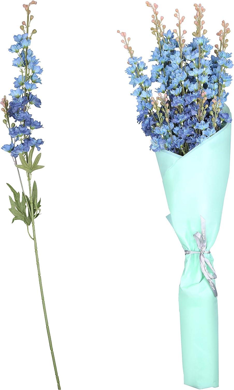 Espuela de Caballero Artificial (8 Tallos) - Flor Artificial Azul Oscuro con Papel Envuelto (78cm) - Delphinium Artificial Ramillete para Ceremonia de Bodas, Guirnaldas, Decoración de Fiestas
