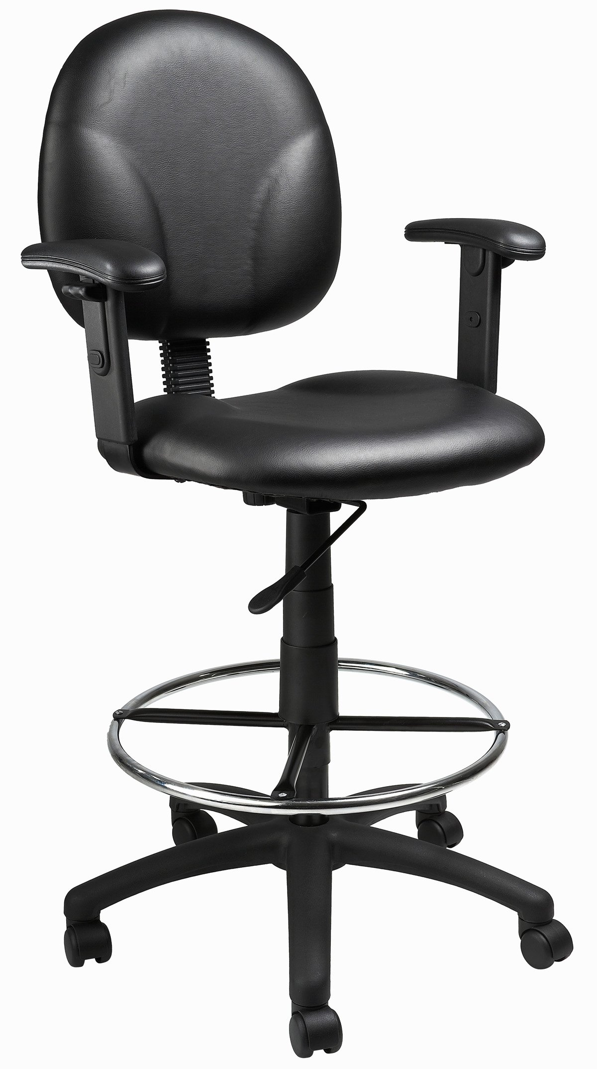 Boss Office Products B1691-CS Stand Up Caressoft Drafting Stool with Adjustable Arms in Black by Boss Office Products