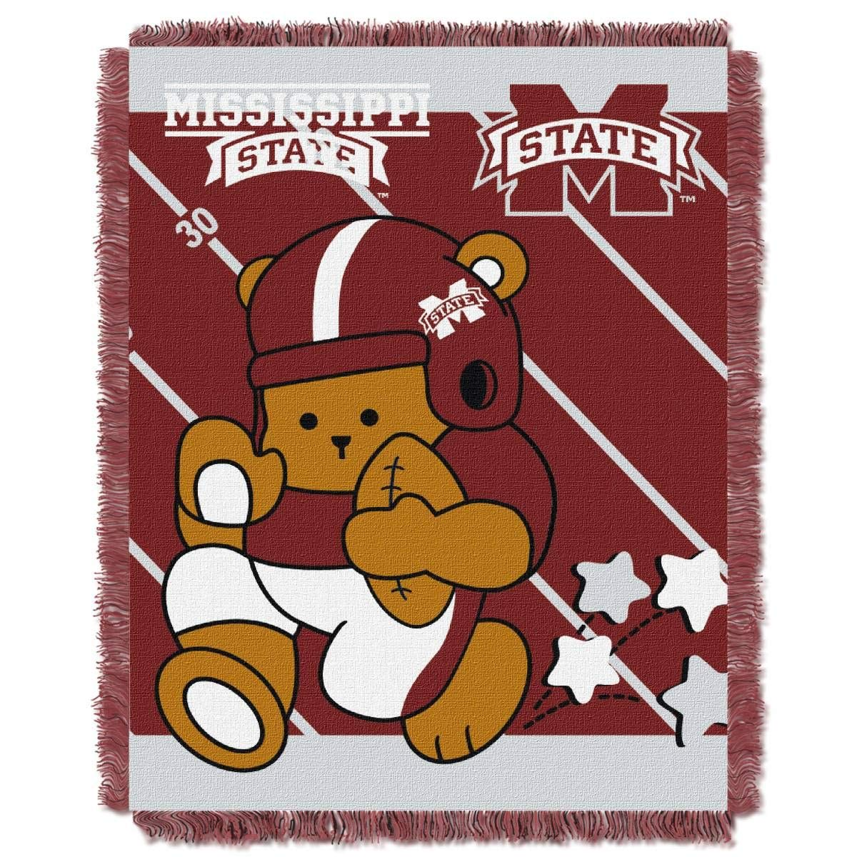 "Officially Licensed NCAA ""Fullback"" Jacquard Woven Baby Throw Blanket, 36"" x 46"", Multi Color"