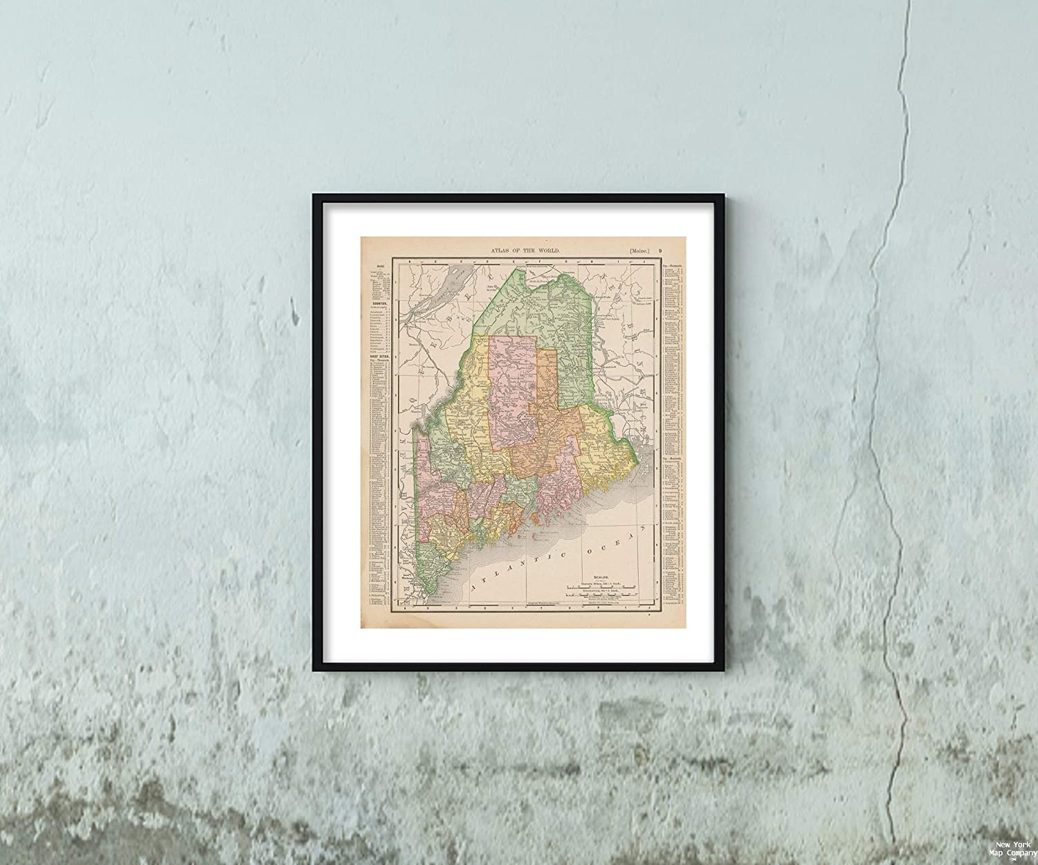 Map Universal Atlas of The World, Maine 1900 State Historic Antique Vintage Reprint Size: 20x24 Ready to Frame