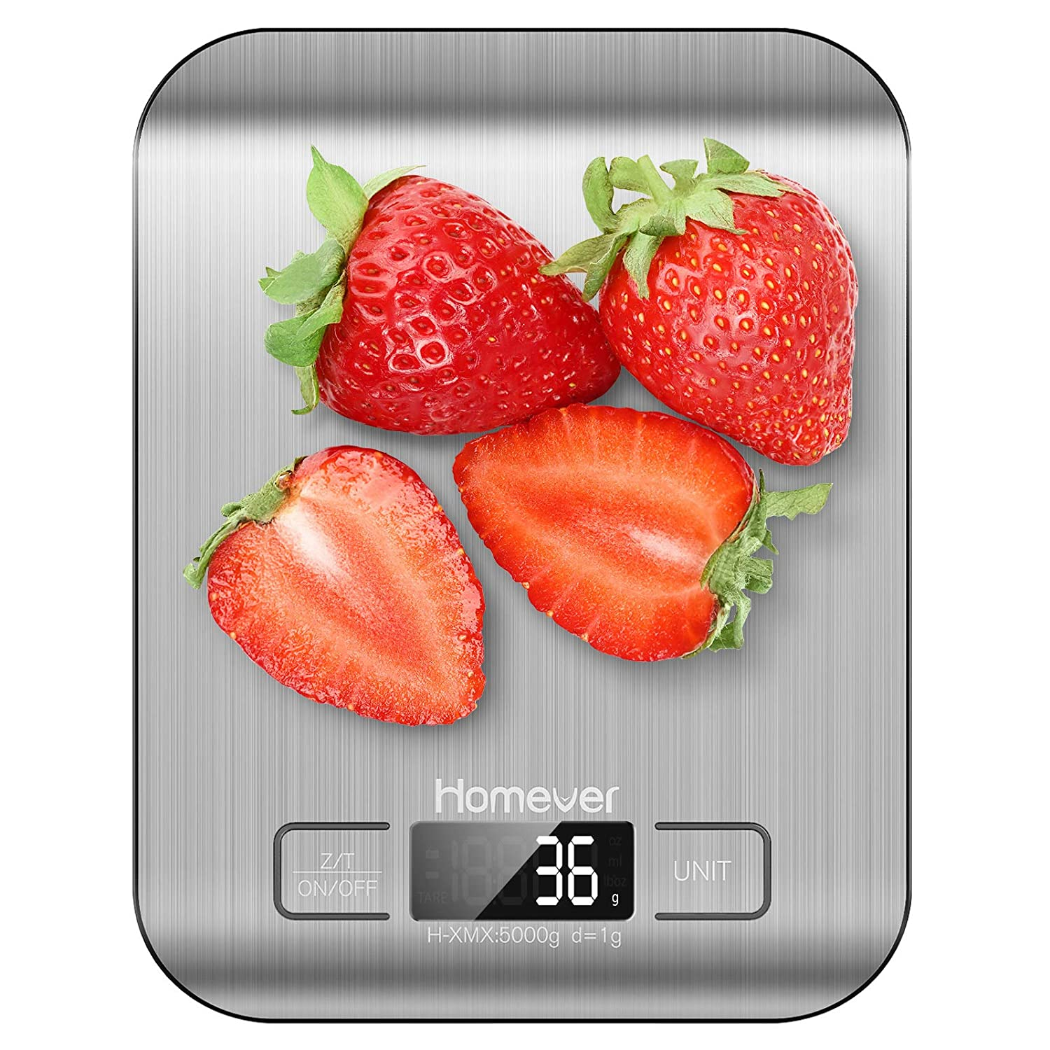 Food Scale, Homever 11lb Digital Kitchen Scale, Electronic Scale Weight Grams and oz for Baking Cooking, 0.05oz/1g Precise Graduation, Silver [Energy Class A++]