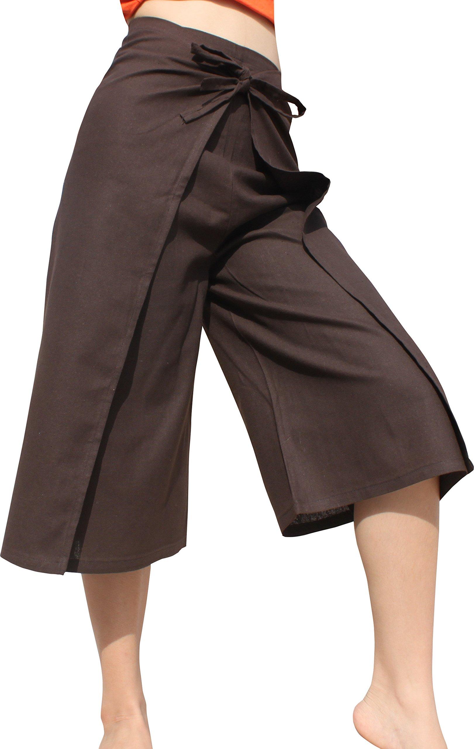 RaanPahMuang Drive In Wrap Pants In Summer Plain Mixed Cotton, Medium, Muang Bangkok Cotton - bistre Brown by RaanPahMuang