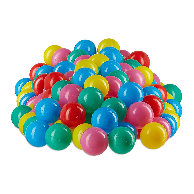 Relaxdays Bälle für Bällebad, schadstofffreie Bällchen 5 cm, 100 Stück im Set, weiche Soft Babybälle ab 6 Monate, bunt 100 Stück im Set 10022476_776