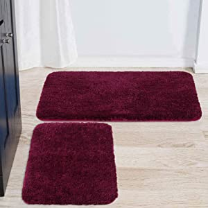 """Buganda Microfiber Bathroom Rugs Set 2 Pieces - Shaggy Soft Thick Bath Mat, Non-Slip Machine Wash/Dry Absorbent Shower Bathroom Rugs and Mats Sets for Bathroom(17""""x24""""+20""""x32"""", Wine Red)"""