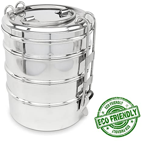ced1422be747 Lifestyle Block Stainless Steel Tiffin Style 4-Layer Round Stacking Lunch  Box