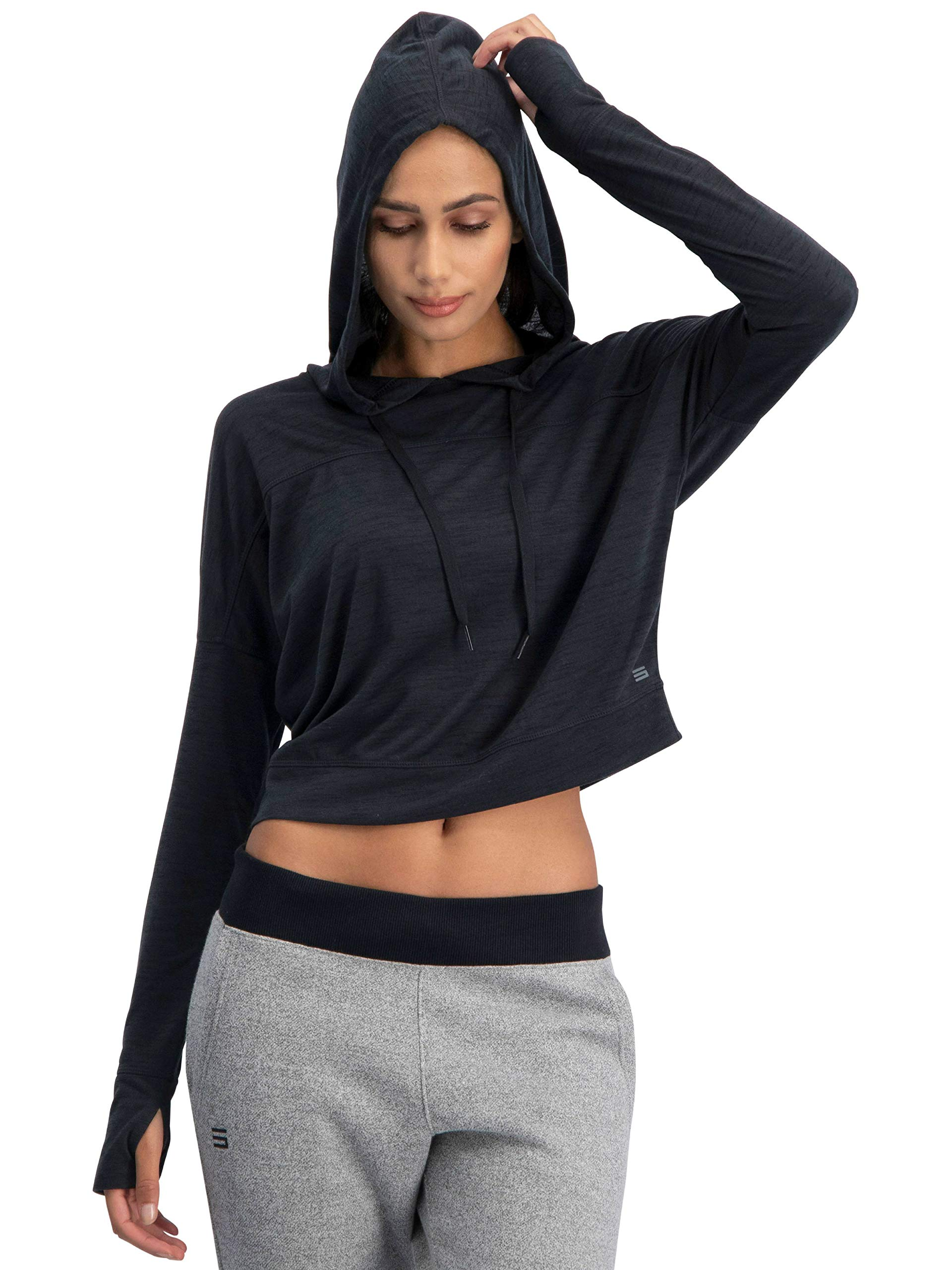 Three Sixty Six Dry Fit Crop Tops for Women - Long Sleeve Crop Top Hoodie - Women's Workout Pullover Top with Thumb Holes