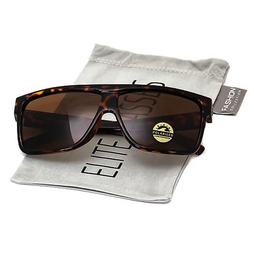 deca196e79be7 Elite Oversize Aviator POLARIZED Sunglasses Flat Top Square Vintage Retro  Fashion Men Women (Tortoise