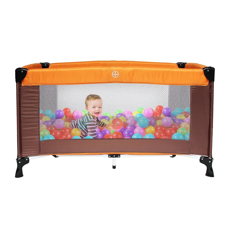 Orange//Marron Leogreen 125 x 65 x 76 cm Standard CE Taille d/éploy/ée: 125 x 76 x 65 cm Poids: 8,84 kg Parc B/éb/é Portable Parc de Jeu pour B/éb/é
