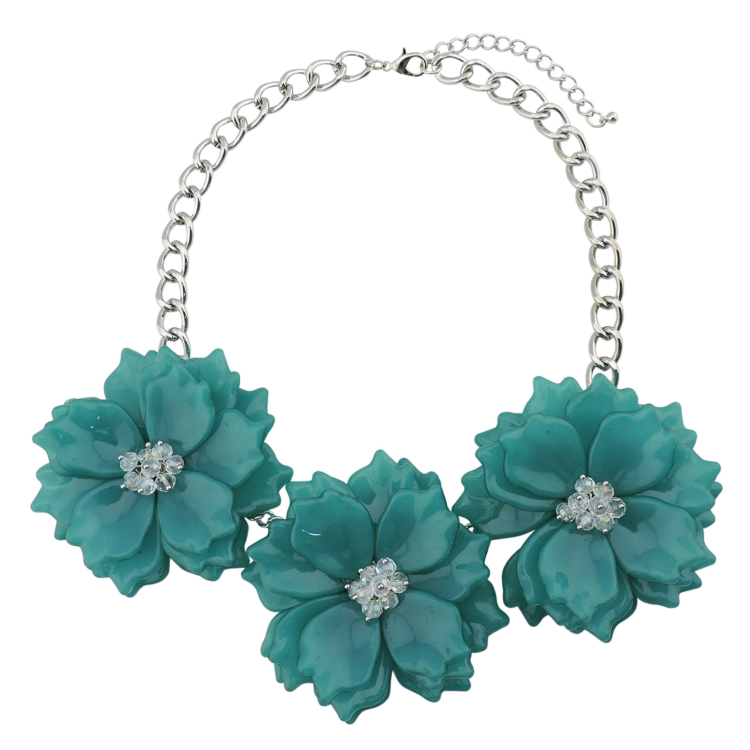 Bocar Statement Chunky Flower Necklace Bib Collar Jewelry Set for Women (NK-10466-Teal)