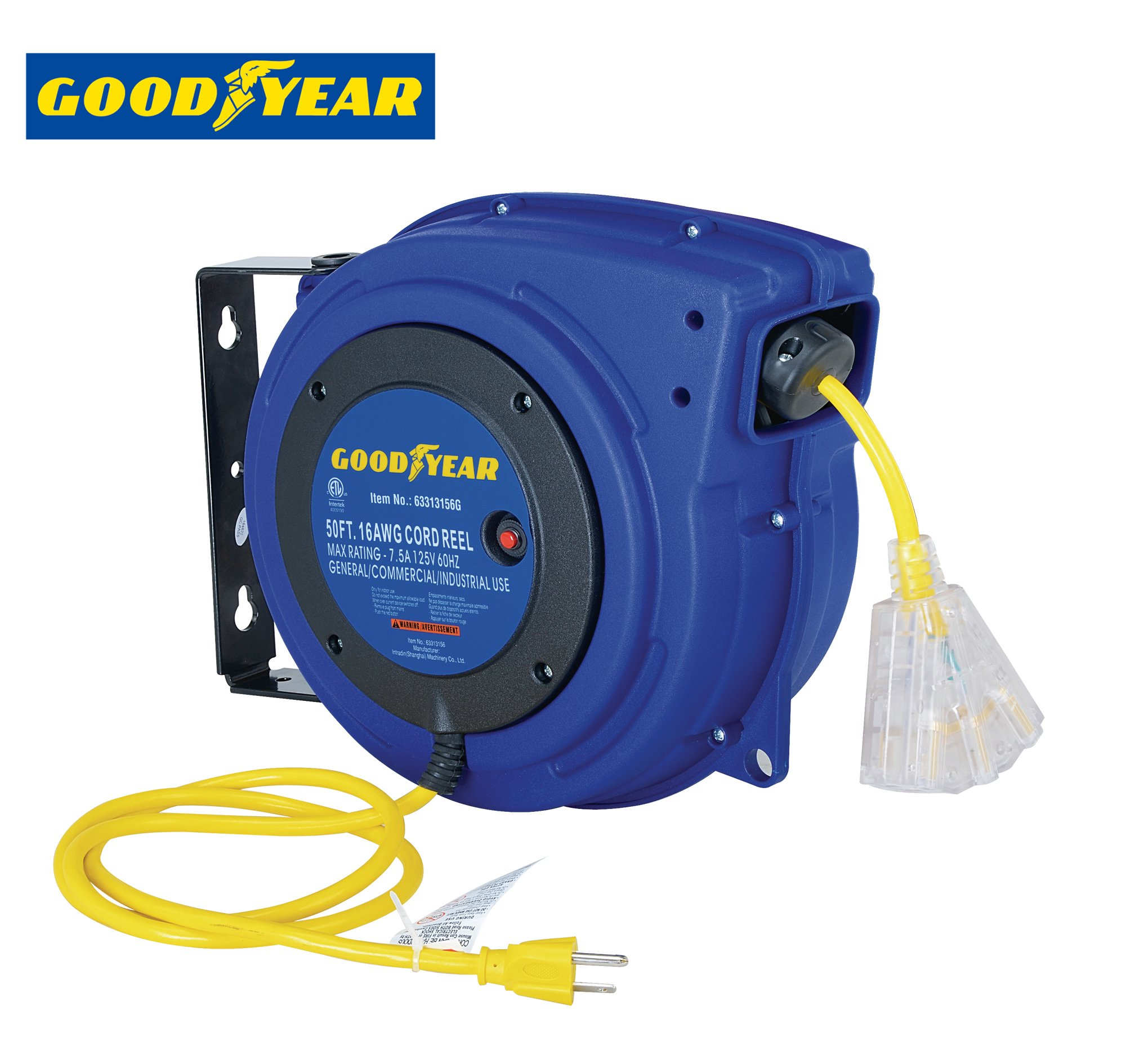 GOODYEAR Heavy Duty Extension Cord Reel , 50 ft., 3C SJTOW, Triple Tap with LED Lighted Connector (16 AWG)