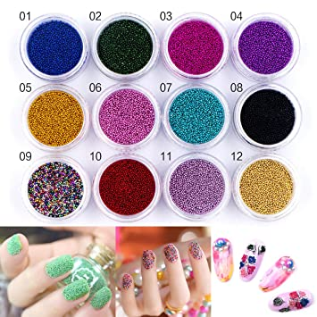 Amazon 12 Boxes Colorful Mini Caviar Nail Art Beads Rhinestone