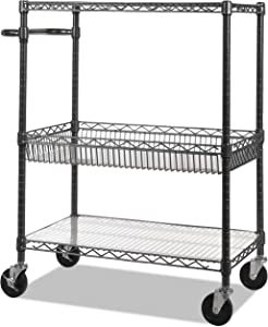 Alera 3-Tier Wire Rolling Cart, Black Anthracite
