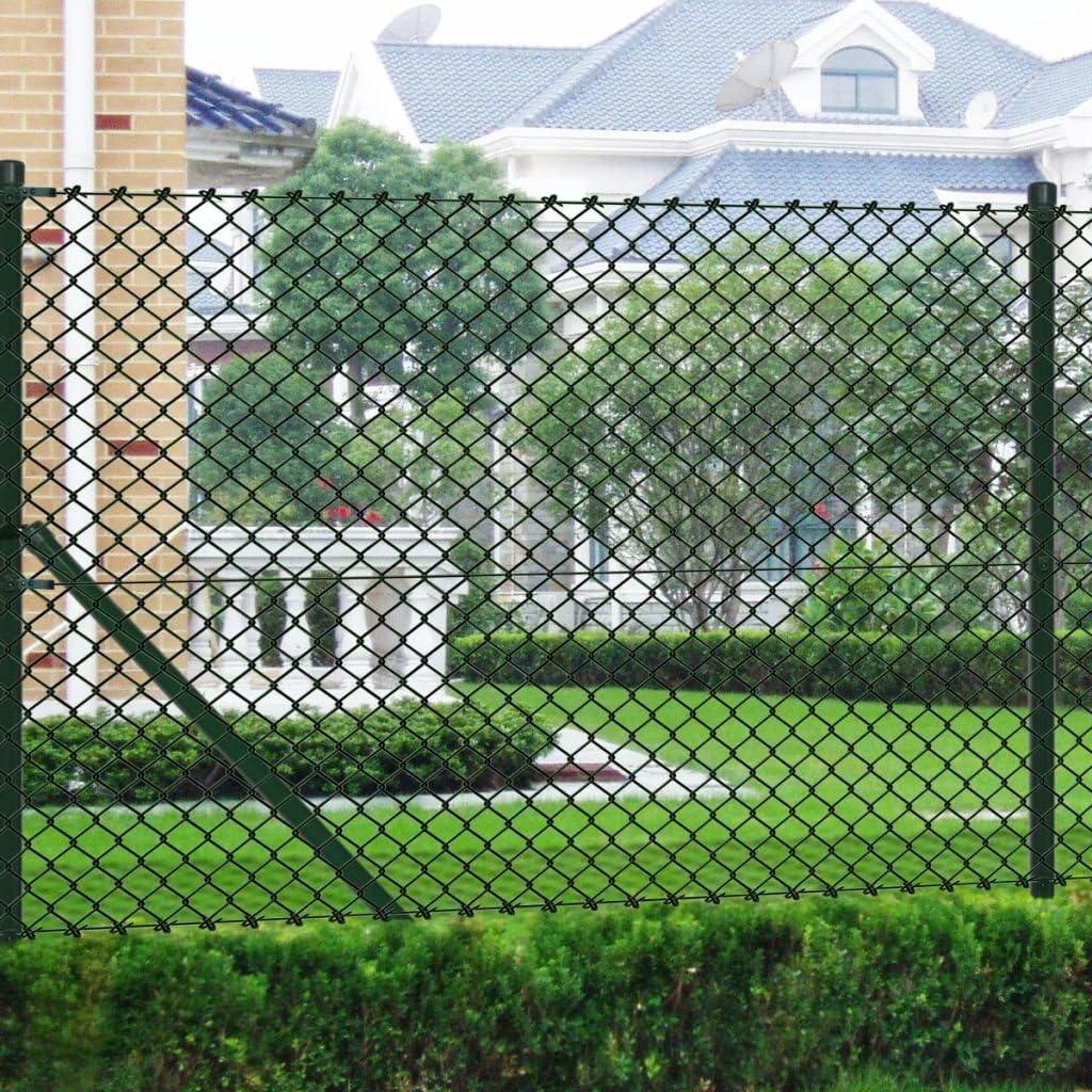 tidyard Malla de Alambre con Postes y Todos Los Accesorios,Valla de Jardín,Decoración Protección para Hogar y Propiedad,PVC Verde 1x25M