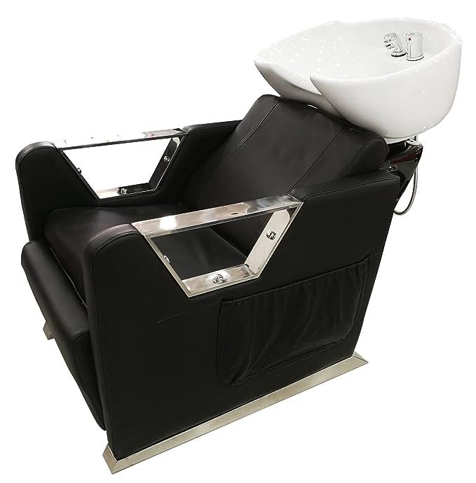 Crisnails® Kit Lavacabezas con Sillones de Salón Peluquería Barberos Kit de 2 Sillones para Lavar Peluquería (Cerámica-Blanco)