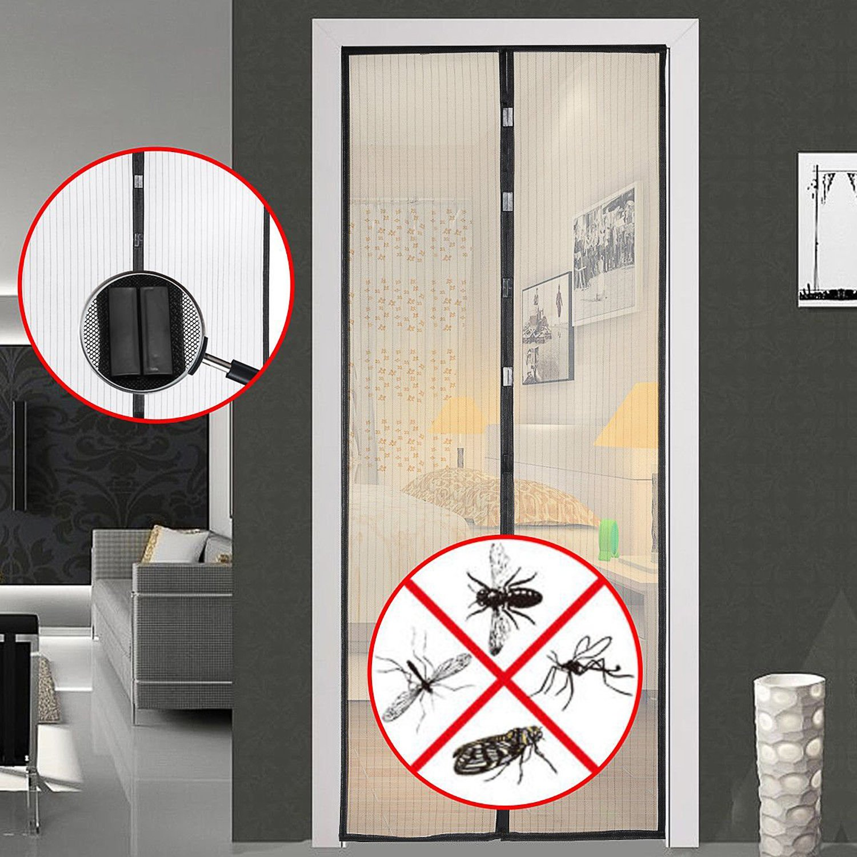 Moustiquaire Porte Fenetre Anti Insecte Mouche Moustique 210cm Moustiquaire Porte pour Porte Entr/ée Int/érieur//Patio//Coulissante Noir 100
