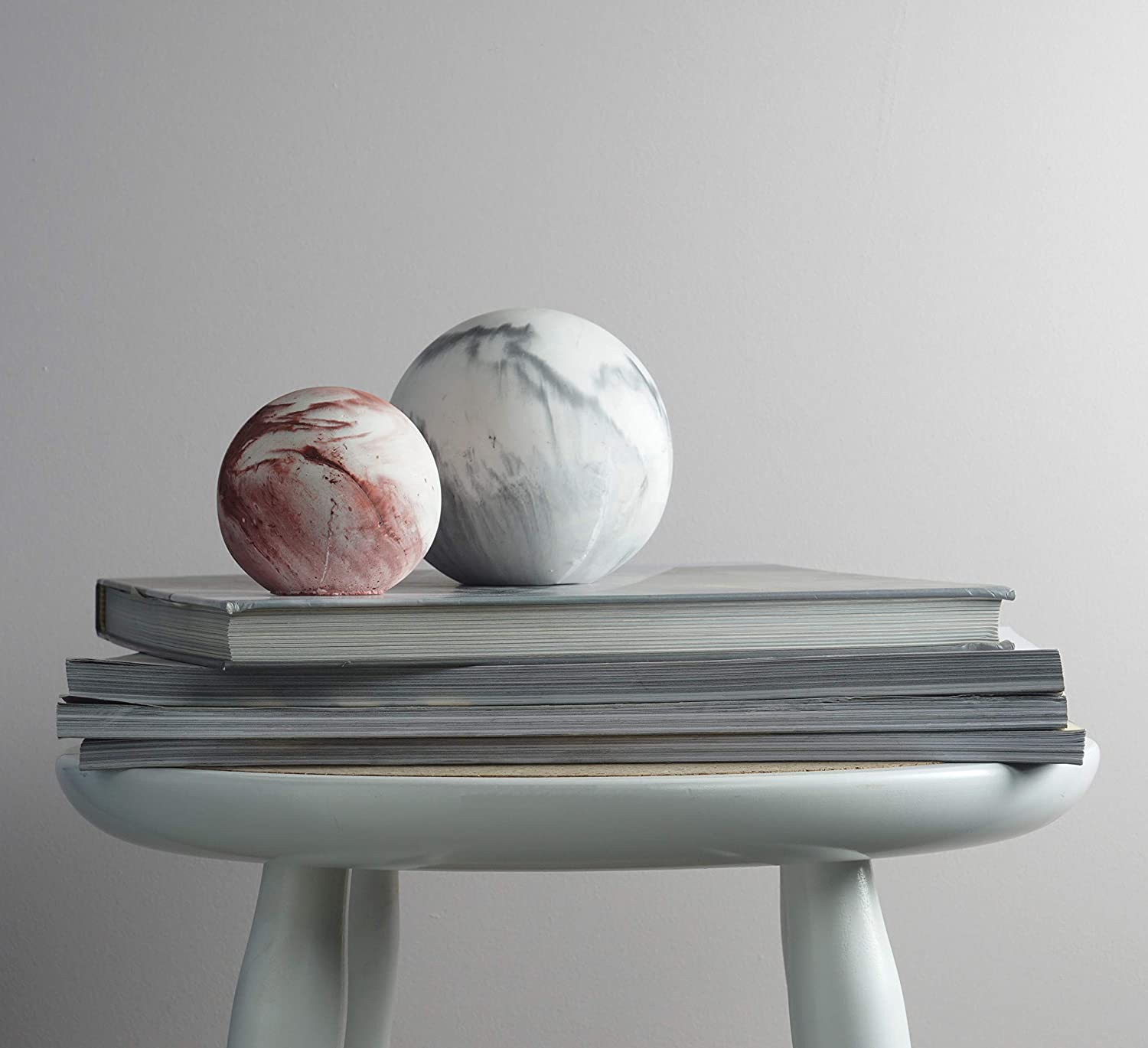 Sizes Large and Small MOXON Desk Planet Paperweight by Korridor Design in Grey Red Small